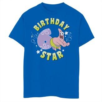 SpongeBob Squarepants Licensed Character Boys 8-20 Patrick 6th Birthday Star Short Sleeve Tee