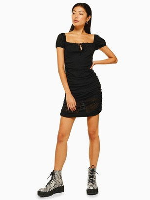 Topshop Mesh Bardot Ruch Dress - Black