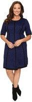 London Times Plus Size Princess Striped Elbow Sleeve Fit & Flare Dress