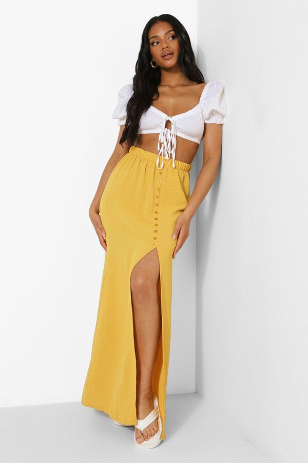 Thumbnail for your product : boohoo Petite Premium Button Front Maxi Skirt