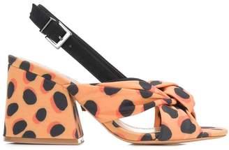 Schutz leopard print block heel sandals
