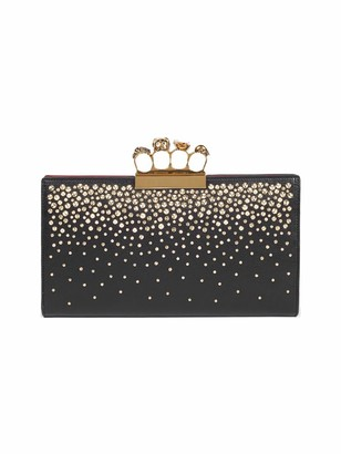 Alexander McQueen Punk Four-Ring Studded Leather Flat Pouch