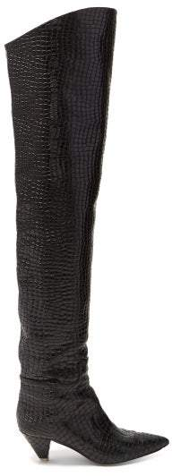 ATTICO Crocodile Effect Leather Over The Knee Boots - Womens - Black
