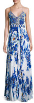 Camilla Embellished Pleat-Skirt Slip Maxi Dress, Royal Blue/Multicolor