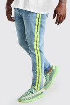 boohoo Mens Blue Big And Tall Skinny Jean With Side Stripe, Blue