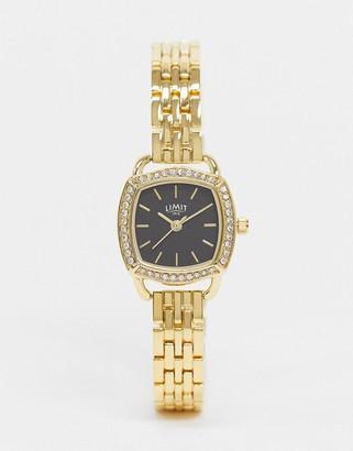 Limit bracelet watch in gold with faux diamond case