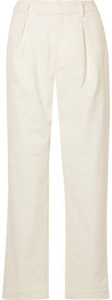 Ganni Ridgewood Cotton-blend Corduroy Wide-leg Pants - Cream