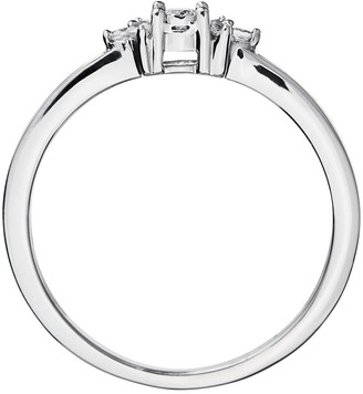 Love Diamond 9ct White Gold 11 Point Diamond Solitaire Ring with Trefoil Shoulder Detail