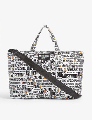 Moschino Logo cotton-blend baby changing bag and blanket