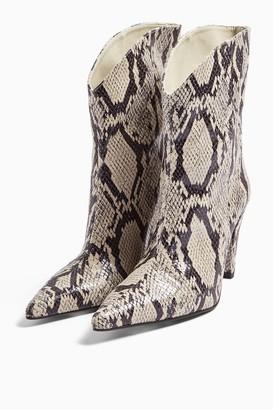 Topshop Womens Villa Vegan Snake Print Boots - Natural