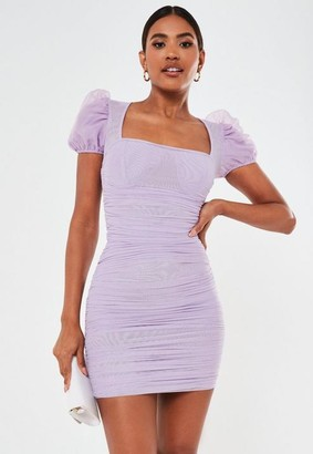 Missguided Lilac Mesh Puff Sleeve Ruched Mini Dress