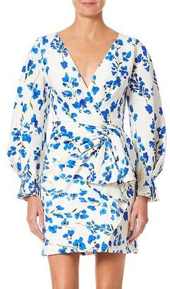 Carolina Herrera Puff-Sleeve Side Bow Floral Mini Dress
