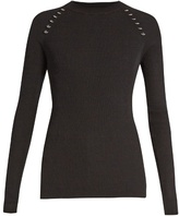 Thierry Mugler Ring-embellished long-sleeved ribbed-knit sweater