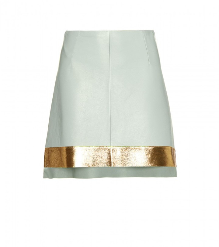 Marni Edition TWO-TONE FLARED LEATHER SKIRT
