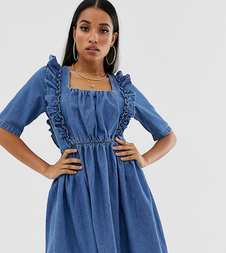 Asos DESIGN Petite denim square neck frill smock dress in blue