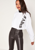 Missguided White Faded Script Cropped Sweatshirt