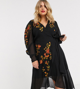 Asos DESIGN Curve wrap front midi dress with embroidery-Black