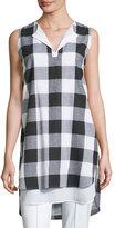 Misook Sleeveless Gingham Layered Shirt, Plus Size