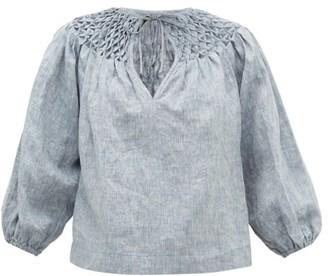 Innika Choo Smocked-yoke Linen-chambray Blouse - Womens - Grey