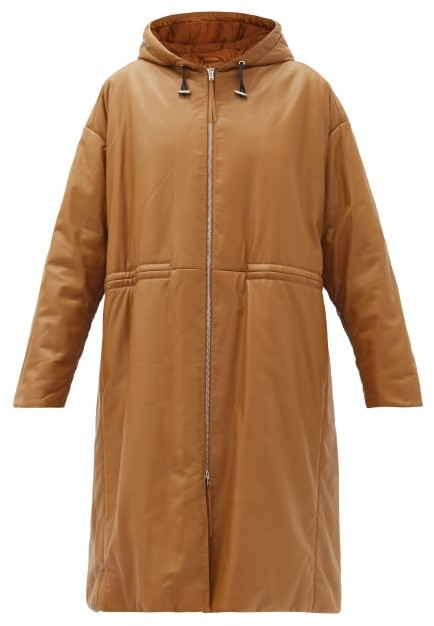 Joseph Cocon Hooded Padded Leather Coat - Camel