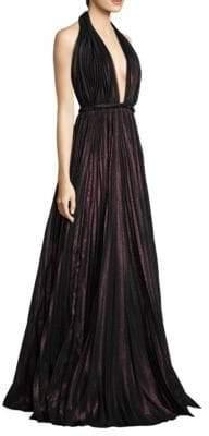 Carmen Marc Valvo Halter Floor-Length Gown