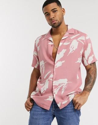 Asos DESIGN regular revere pink abstract leaf print shirt in pink