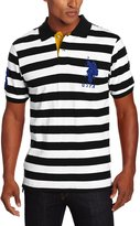 U.S. Polo Assn. Men's Short Sleeve Striped With Big Pony, Black/White