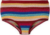 Laneus lurex striped bikini shorts