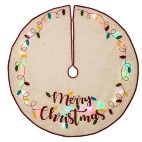 Glitzhome Led Embroidered Linen Christmas Tree Skirt - Merry Christmas