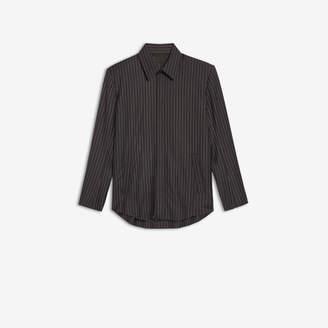 Balenciaga Tailored Shirt in dark navy and white pinstripe soft wool