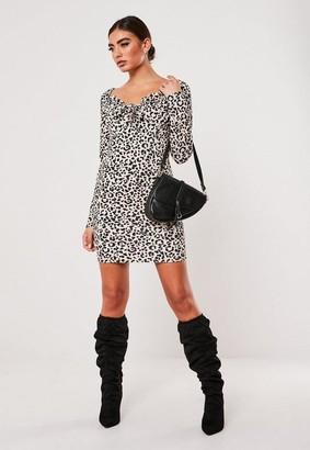 Missguided Brown Leopard Print Milkmaid Bodycon Mini Dress