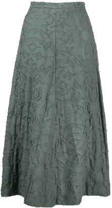 Alysi Embroidered Flared Midi Skirt