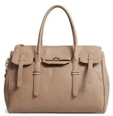 Sole Society Faux Leather Weekend Satchel - Beige