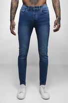 boohoo Mens Mid Blue Wash Skinny Fit Jeans, Blue