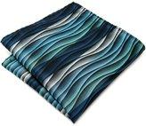 Shlax & Wing Shlax&Wing Mens Pocket Square Geometric Blue Ripple Patterned Hanky Silk