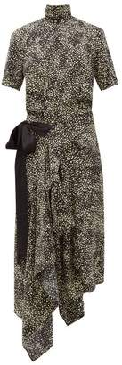 Petar Petrov Afra High-neck Asymmetric Printed Silk Midi Dress - Womens - Black Multi