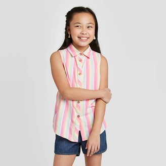 Cat & Jack Girls' Striped Sleeveless Woven Top - Cat & JackTM Pink