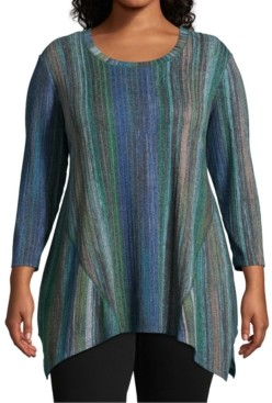 John Paul Richard Plus Size Striped Knit Asymmetrical-Hem Top