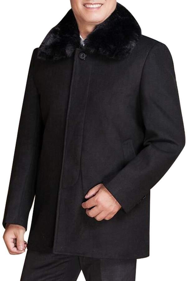 afa61d59e LD-men clothes LD Mens Faux Fur Collar Single Breasted Fleece Wool Pea Coat  Overcoat 3XL
