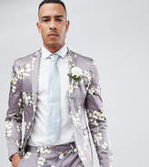 Asos TALL Wedding Super Skinny Blazer In Gray Floral Print