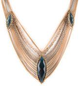 Anthony Nak 18 KT Yellow White Gold Draped Chain Blue Topaz Beadmail Necklace