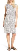 Nordstrom Women's A-Line Print Stretch Silk Dress