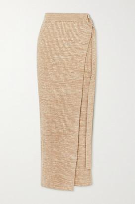 ANNA QUAN - Matilde Layered Ribbed Cotton Maxi Skirt - Neutral