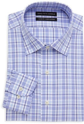 Saks Fifth Avenue Classic-Fit Plaid Dress Shirt