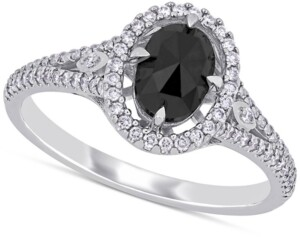 Macy's Diamond Oval Black Halo Engagement Ring (1 ct. t.w.) in 14k White Gold