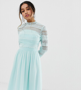 Chi Chi London Petite long sleeve lace dress with pleated skirt in mint-Blue