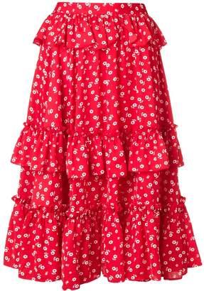 ALEXACHUNG Alexa Chung ruffled floral midi skirt