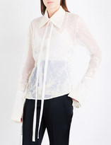 Ann Demeulemeester Wrap floral-embroidered tulle shirt