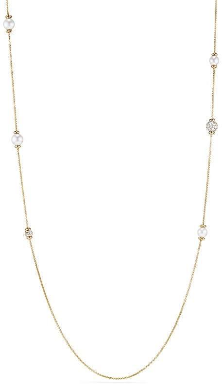 David Yurman Solari Long Station Necklace with Cultured Akoya Pearls & Diamonds in 18K Gold