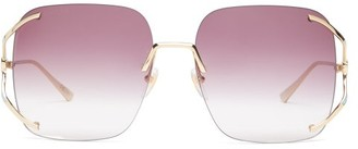 Gucci Crystal-embellished Acetate Sunglasses - Womens - Purple Gold